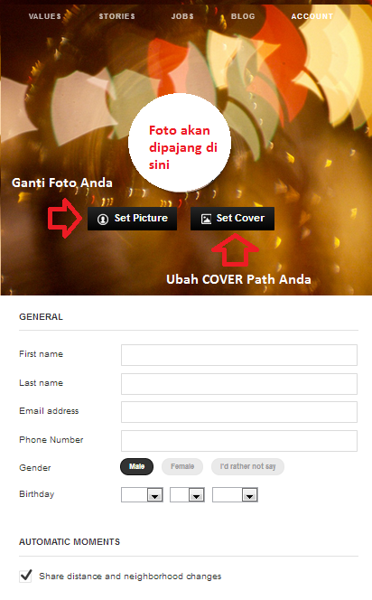 Pengaturan Data Account Akun Path