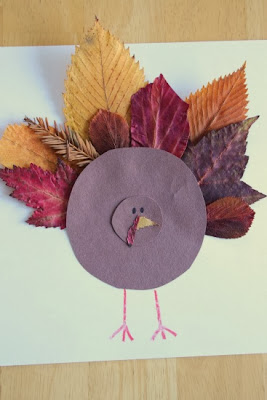 Paper and leaf Turkey craft