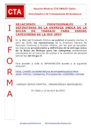 RELACIONES PROVISIONALES Y DEFINITIVAS DE LA ENTREGA ÚNICA DE LA BOLSA DE TRABAJO PARA VARIAS CATEG