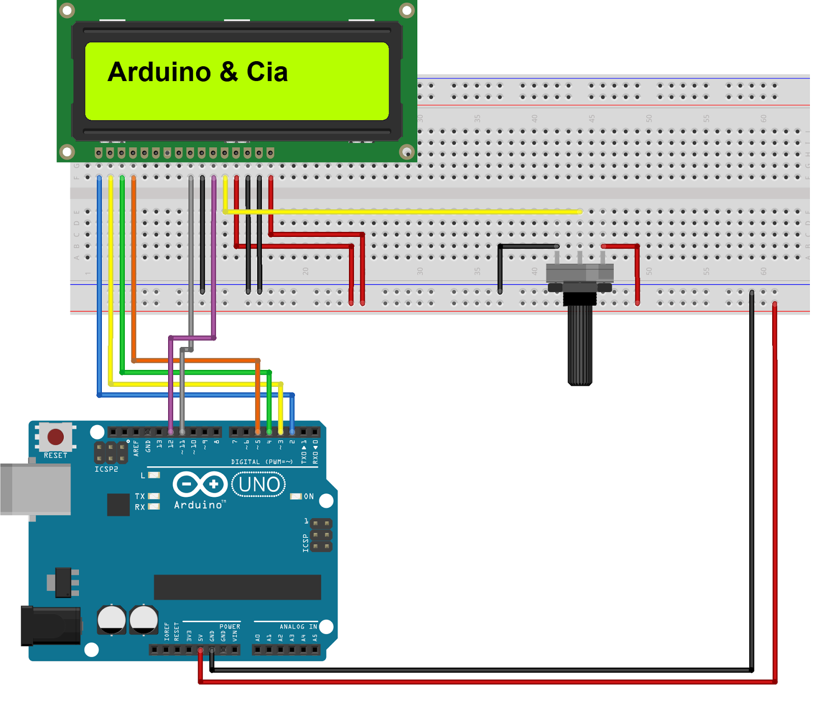 Circuito Scroll LCD 16x2 Arduino