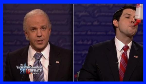 Jason Sudeikis as Joe Biden and Taran Killam as Paul Ryan on SNL 10/13/2012