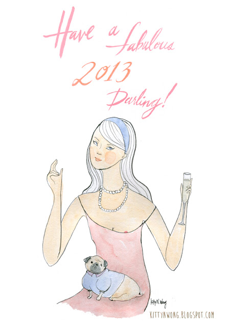 Paris Hilton socialite girl illustrated New Years 2013 card.