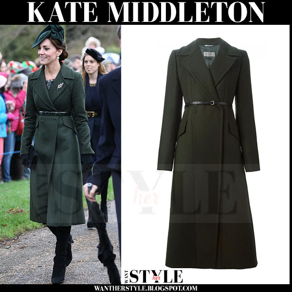 Kate Middleton in dark green belted coat sportmax what she wore winter fashion