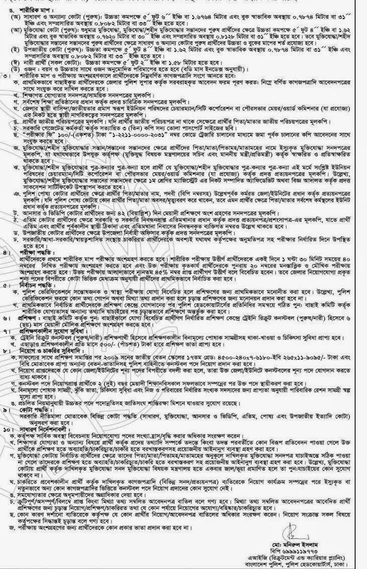 Bangladesh Police Constable Job Circular 2015