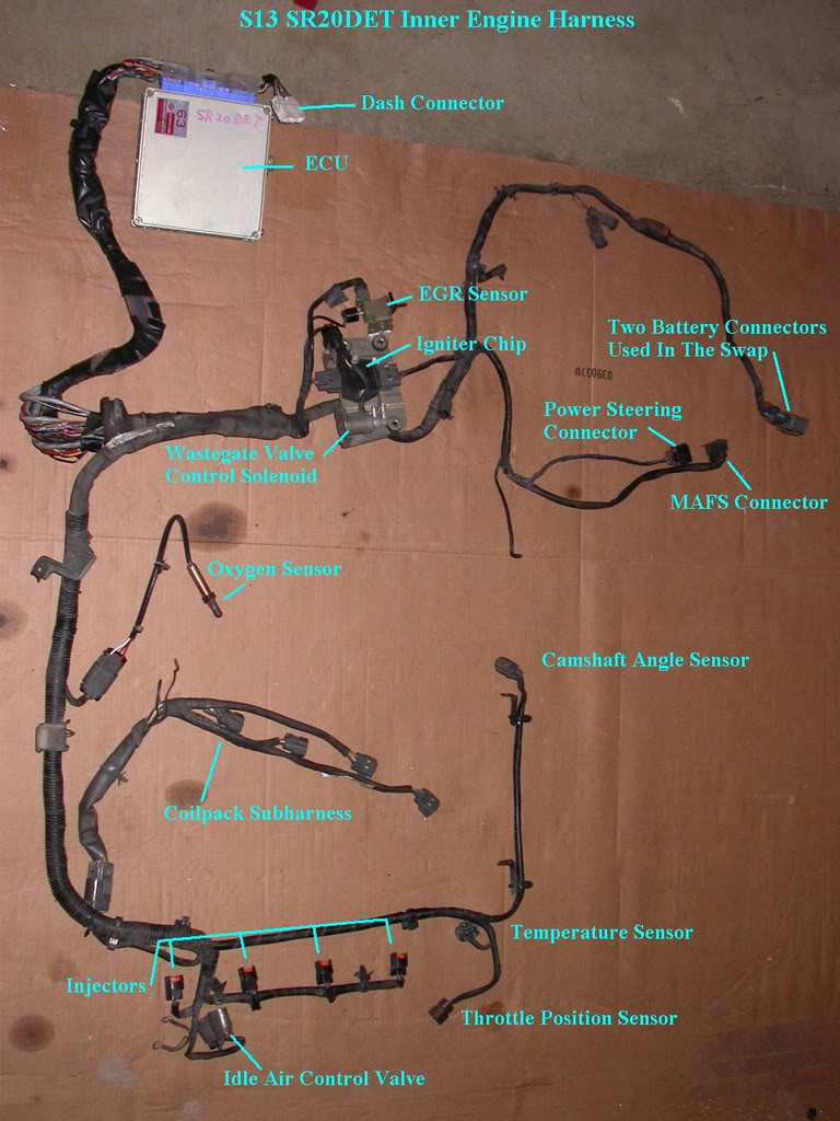 wiring an s13 sr20det up for an s14 95 98 forever simone rh om1kron blogspot com 1990 Nissan 240SX Engine Wiring Diagrams s14 ka24de engine harness diagram