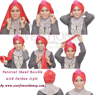 Cara Memakai Jilbab Shawl Rosella 2