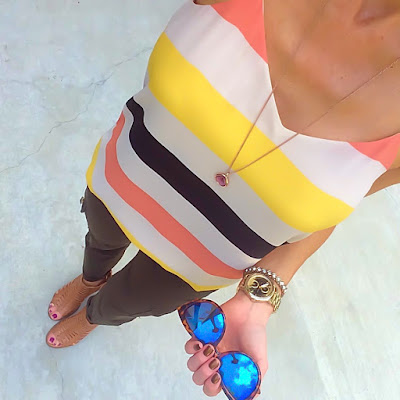 Express Striped Barcelona Cami, Olive Cargo Skinnies, Fossil Gold Chelsey Watch