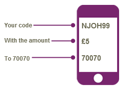 Text NJOH99 and your donation amount to 70070