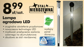 Lampa ogrodowa LED Biedronka ulotka