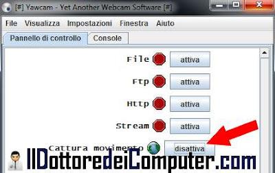 yawcam configurazione mail webcam 3