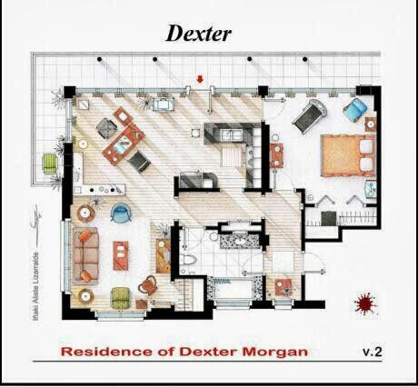 Plano de la residencia de Dexter Morgan. Dexter. Planos de apartamentos de series de televisión