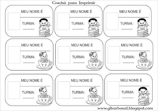 Crachá para Imprimir turma da Mônica Baby