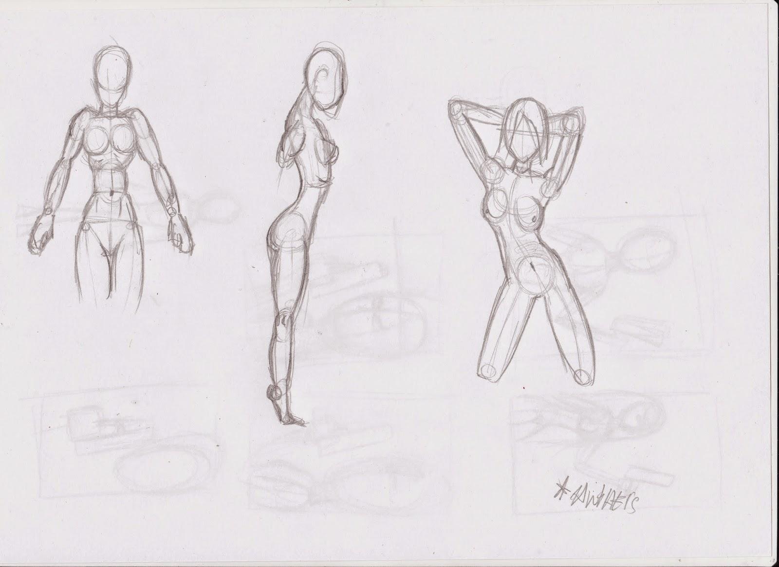 Bocetos anatomía cuerpo humano mujer - otros