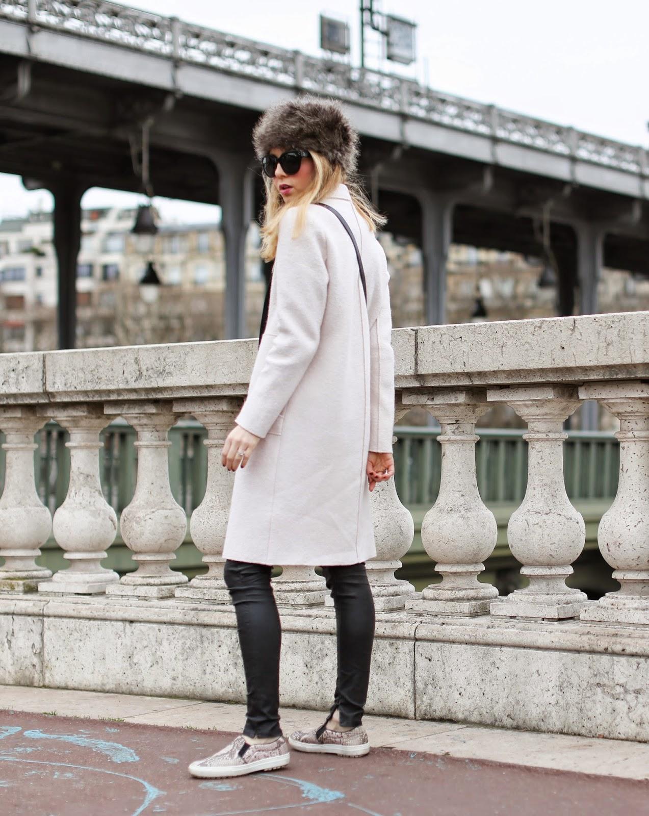zara, céline pale pink, python slipons, blk dnm, fur hat, eiffel tower, streetstyle paris, fashion blogger