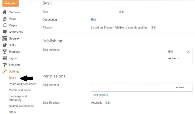 basic settings on blogger