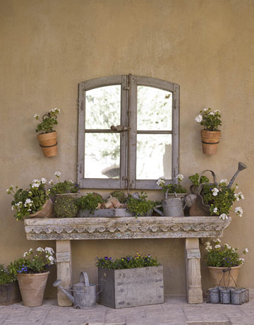 In my house garden tables for French country courtyard