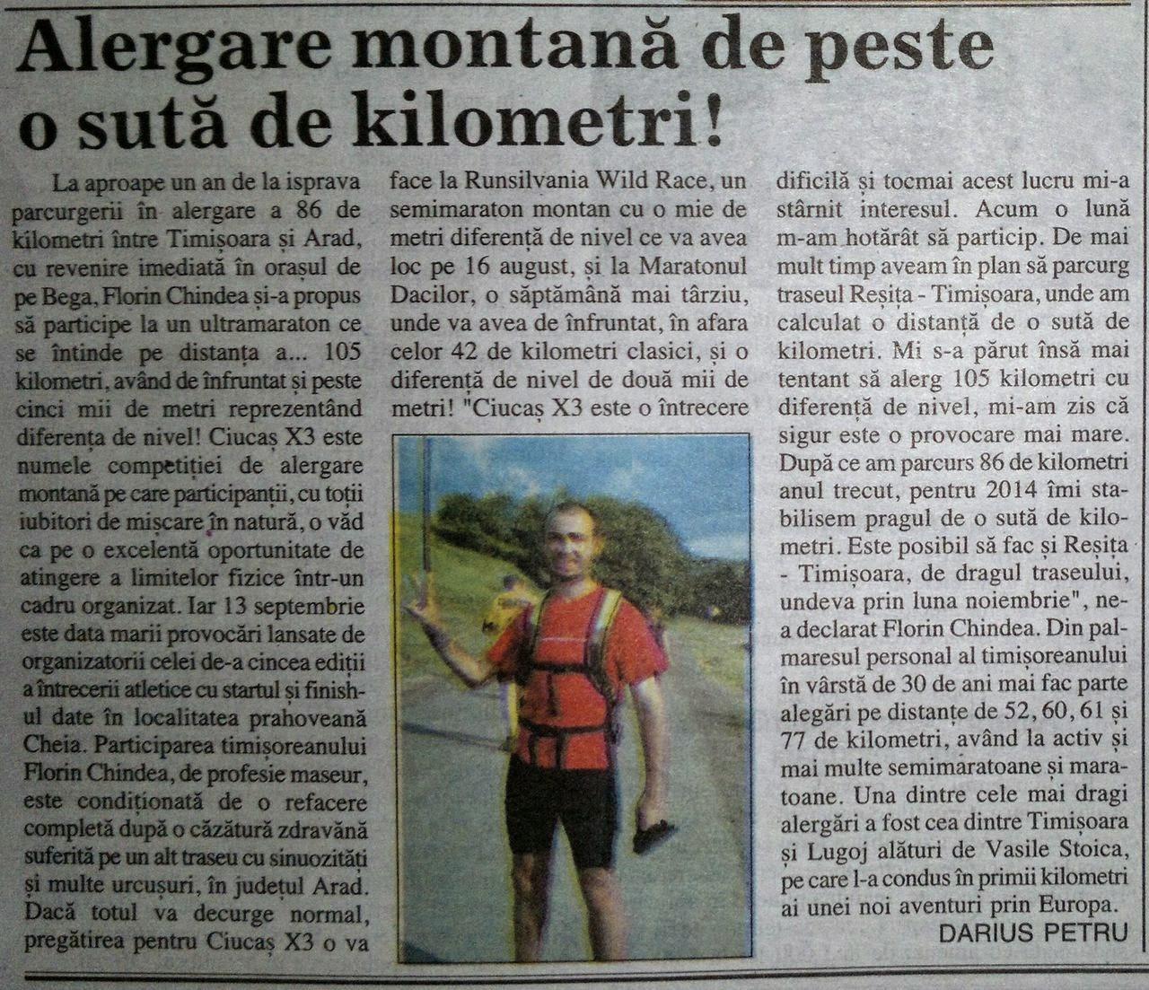 Alergare montană de peste o sută de kilometri. Apariţie în ediţia tipărită a ziarului Renaşterea Bănăţeană, joi, 07.08.2014