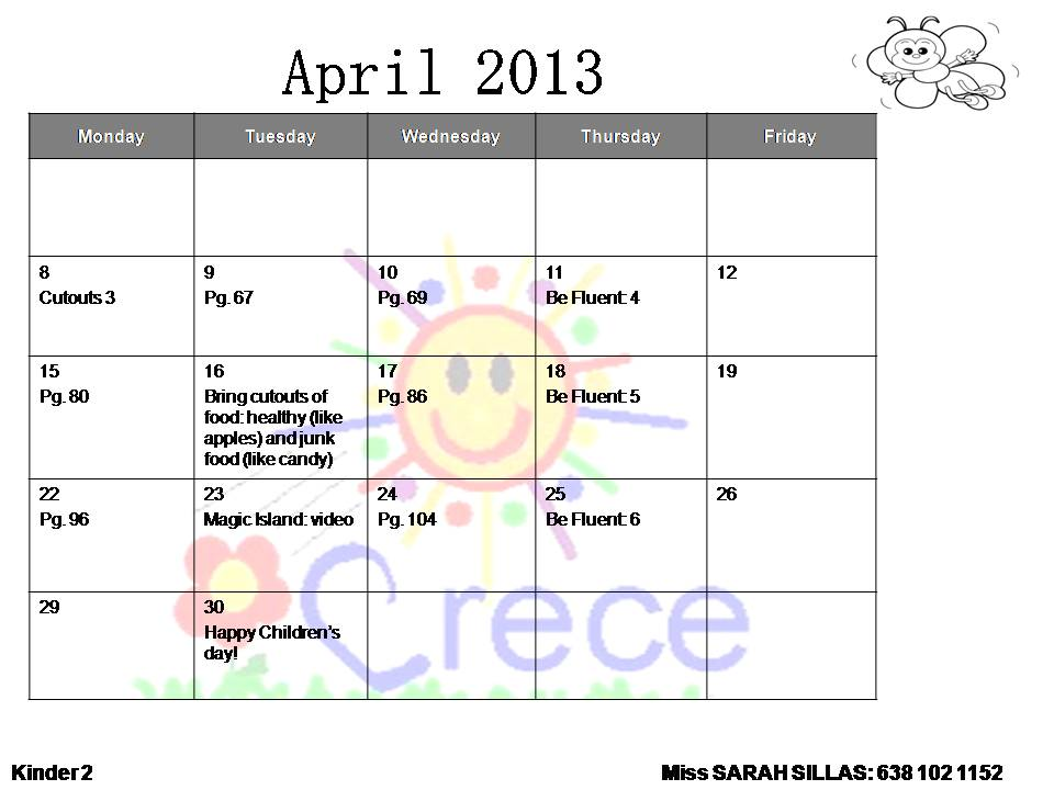 April Calendar S Kindergarten : Colegio bilingÜe crece homework april calendars kindergarten