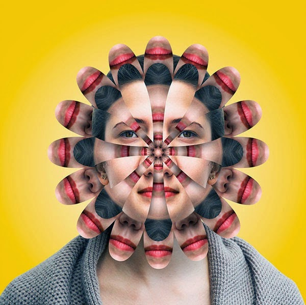 Interesting photo manipulations turning ordinary faces into kaleidoscopes by Norg Nodis