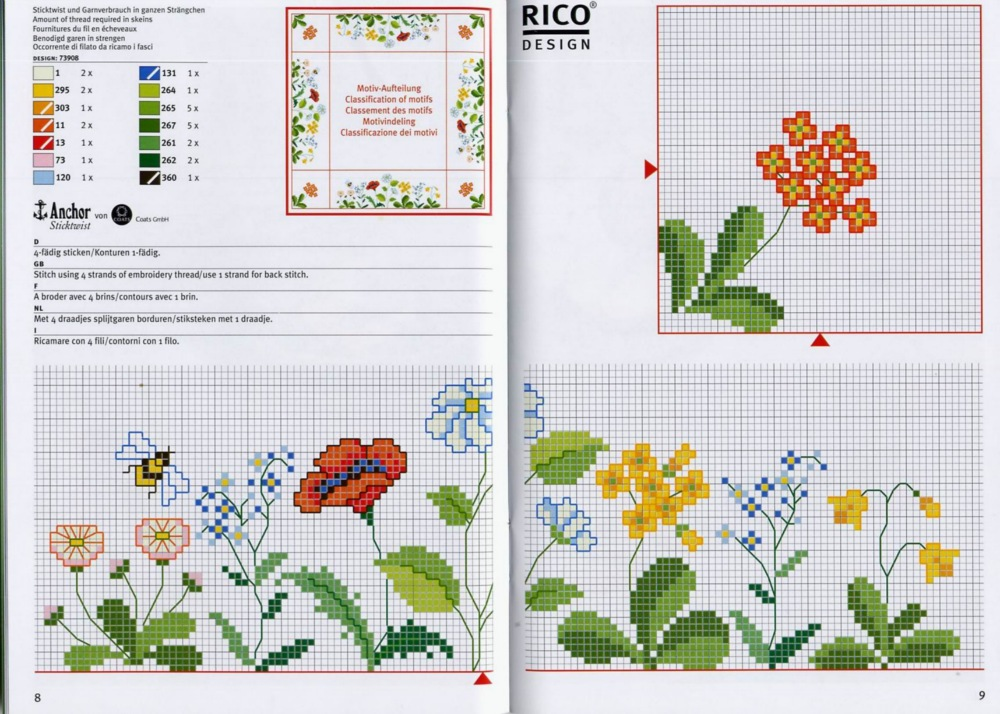 Цветы схема вышивки крестом простая схема 68