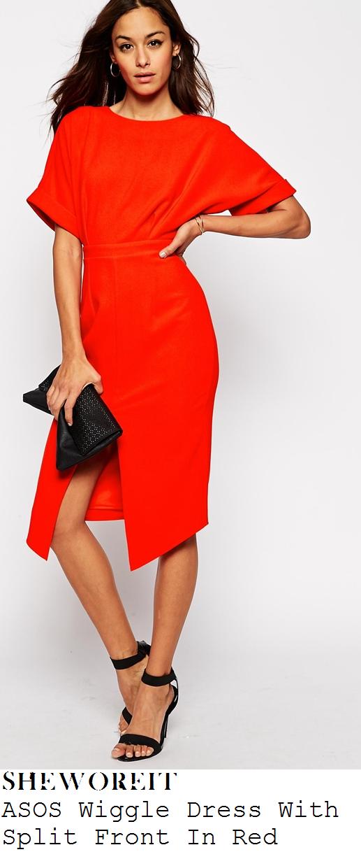 ferne-mccann-red-half-sleeve-high-waisted-split-front-dress-faces-nightclub