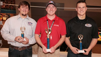 NASCAR fan and occasional iRacing competitor Ricky Hardin (middle) won the NASCAR Champions iRacing Challenge finale over runner-up Ryan Preece (right) and third-place Tyler Hudson.
