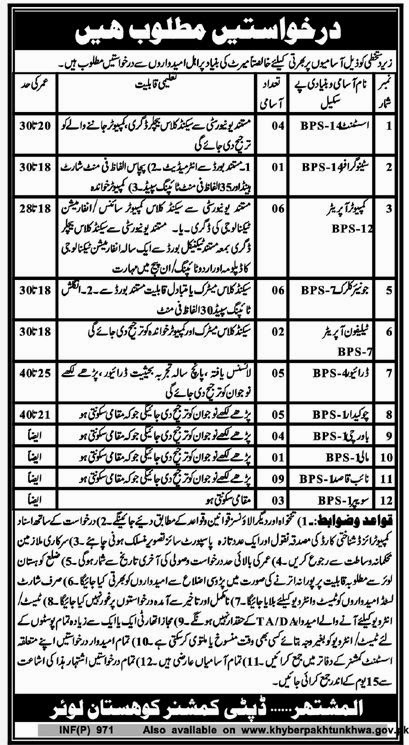 Clerical and Class Four Jobs in Police Department, Kohistan