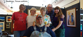 Bastrop Fine Art Guild Artists CJ, Myrlene, Peggy, Mike, Kelly, with Jeff in front