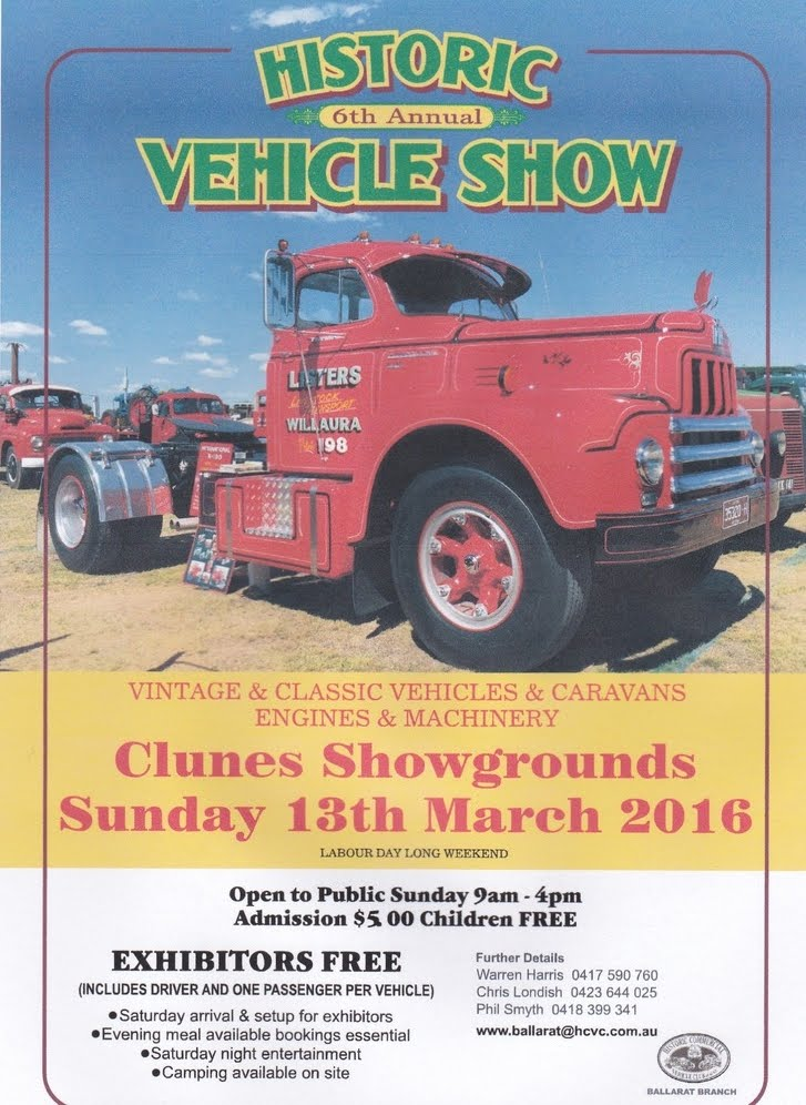 Clunes Historic Vehicle Show Sunday March 13 2016