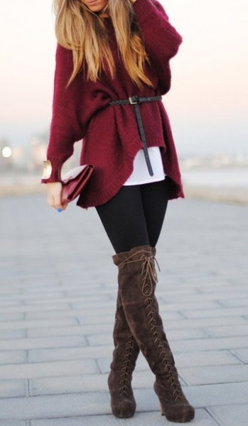 sweetkitty ruby sweater black tights brown boots