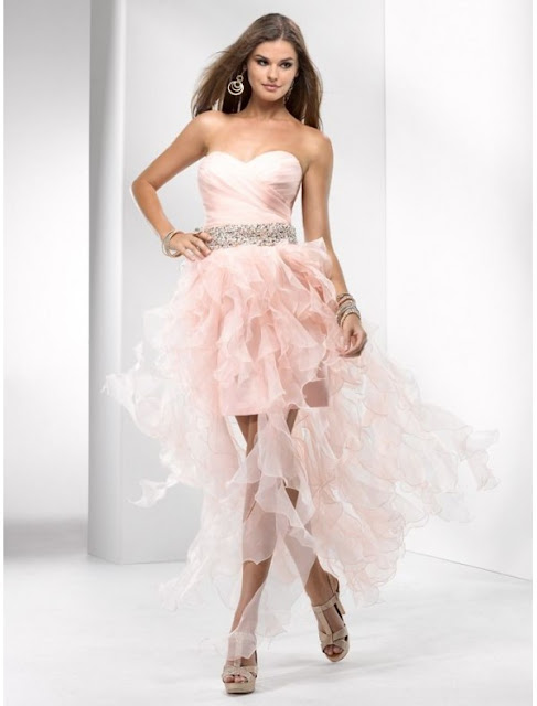 Organza Sweetheart Strapless Neckline A-Line Prom Dress with Ruffles High-Low Skirt