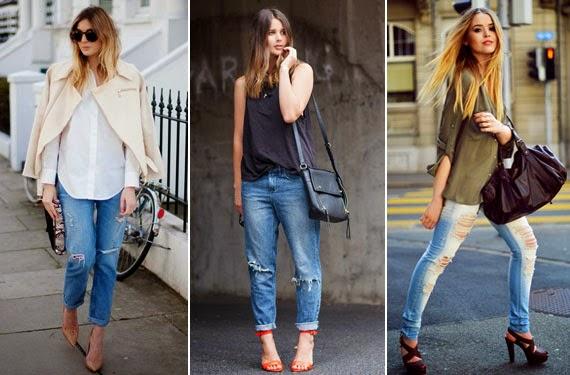 Úsalos con zapatos tipo salón o stilletos, cuantos mas altos mejor ya que al usarlos anchos y con rotos , tenemos que darle feminidad al look.