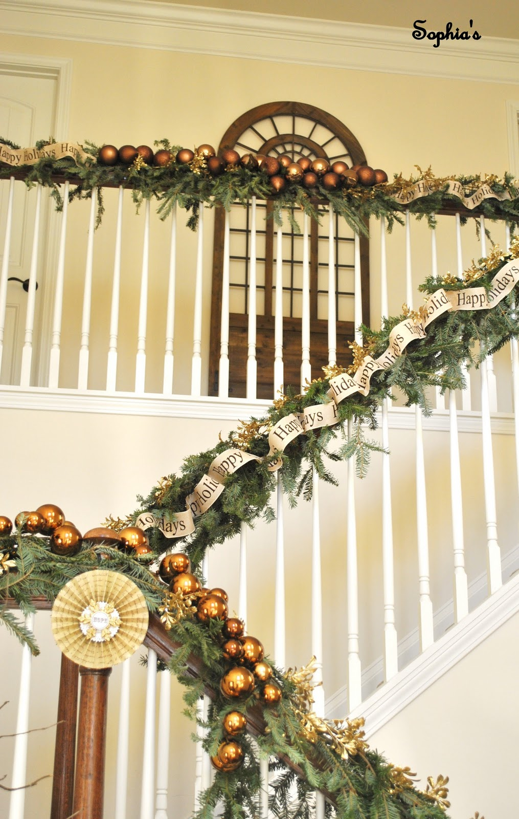 Sophia 39 s christmas stairs for Stair railing decorated for christmas