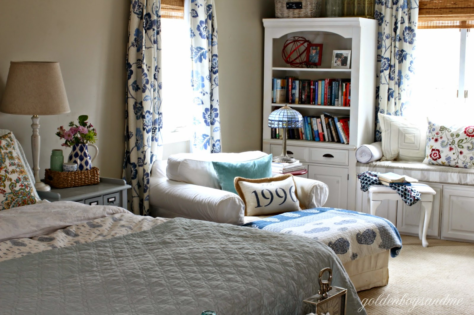 Repurposed wall unit turned DIY built in bookshelves in master bedroom-www.goldenboysandme.com