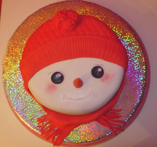 Tarta Fondant, navidad, hombre nieve, cumpleaños