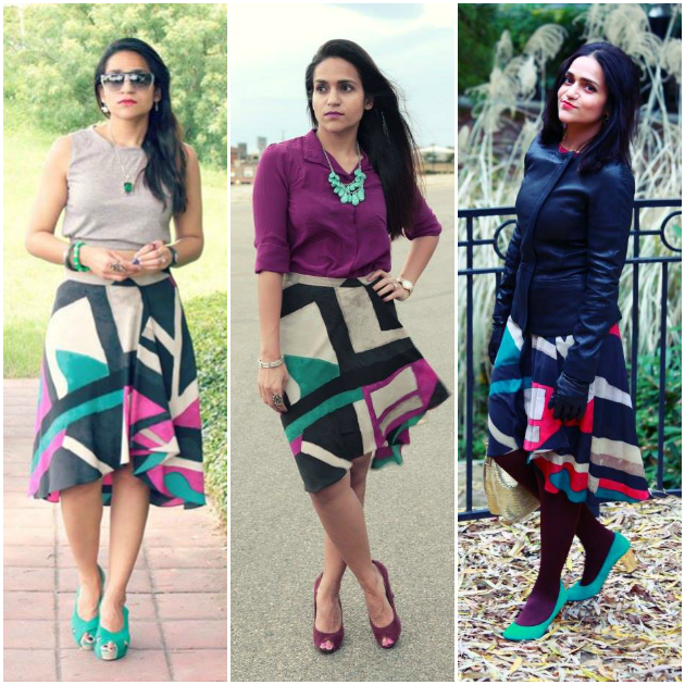 Three Ways To Style A Hi Low Printed Skirt, Tanvii.com