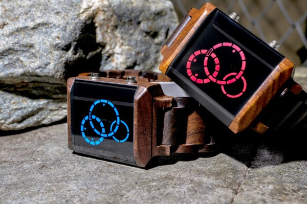 TokyoFlash Kisai Satellite X Wood LED Watch
