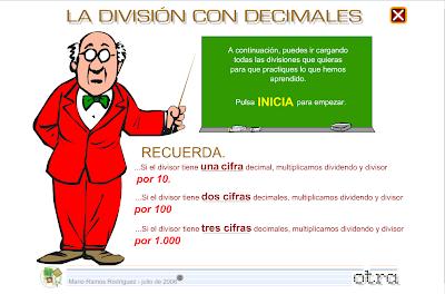 La división con decimales,Matemáticas, Numeración,decimales