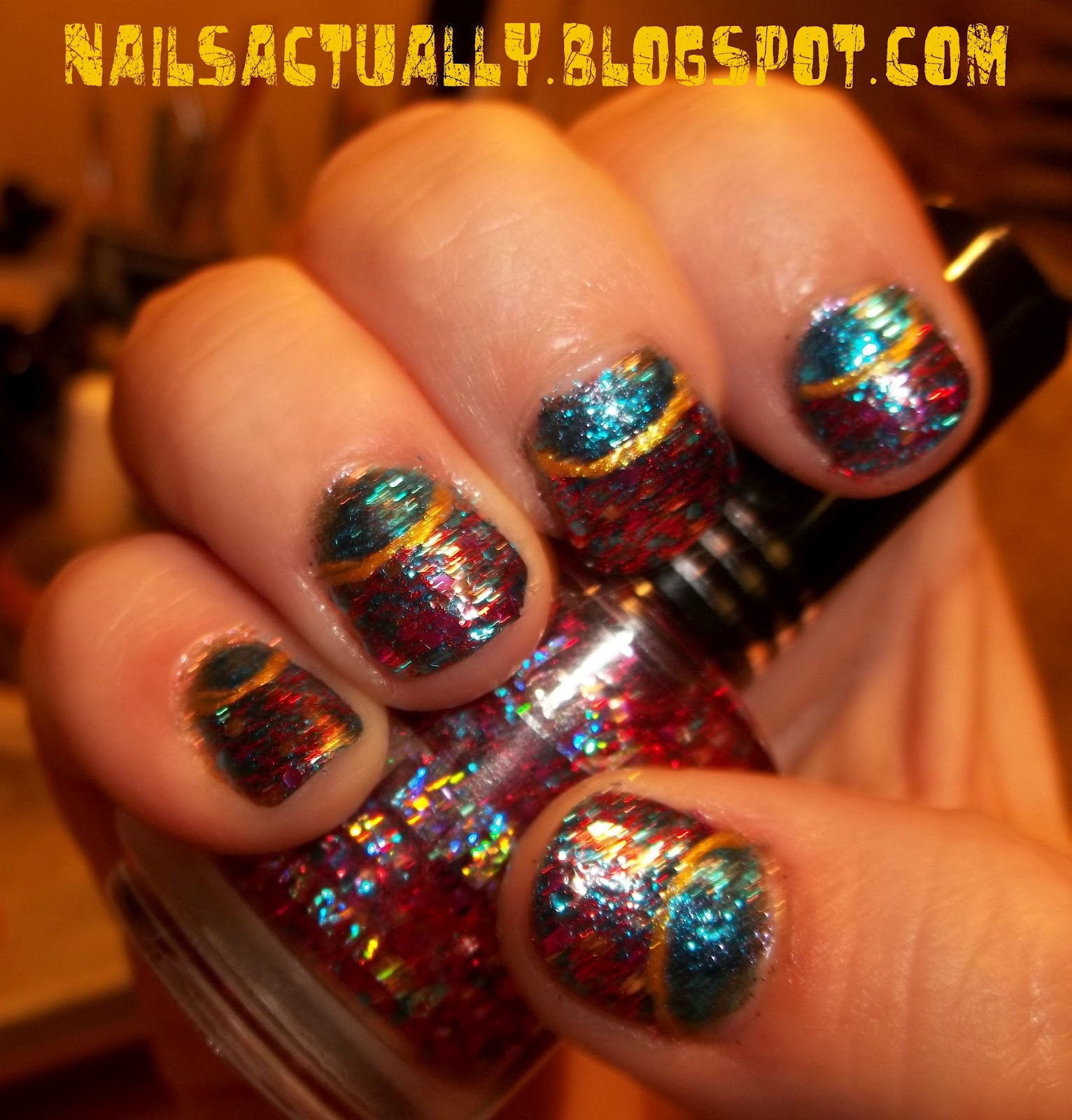 nails actually jordana glitter half moon manicure
