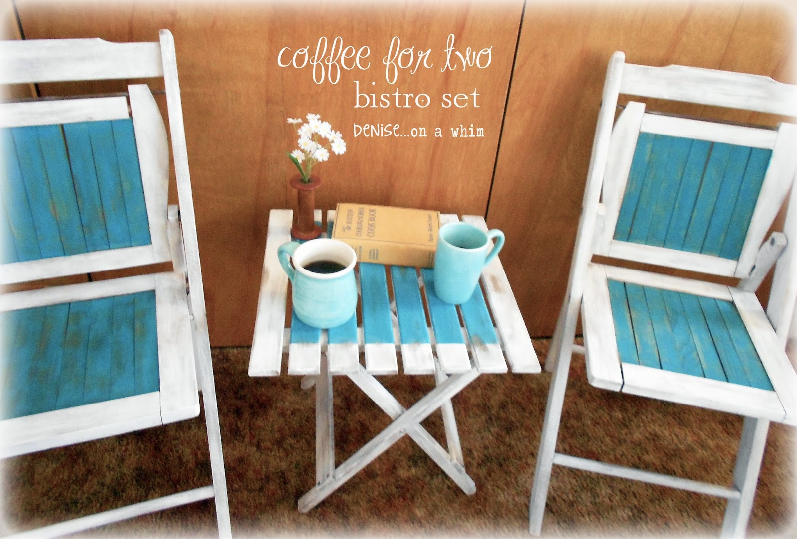 Coffee bistro set with vintage wooden folding chairs via http://deniseonawhim.blogspot.com