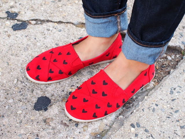 DIY Heart Stenciled shoes