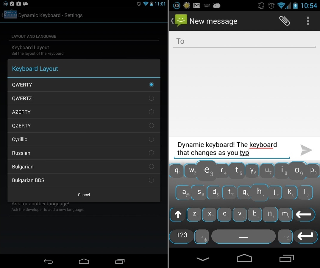 Dynamic Keyboard Android