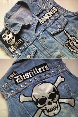 diy kamizelka ćwieki punk rock czaszka jeans trendy