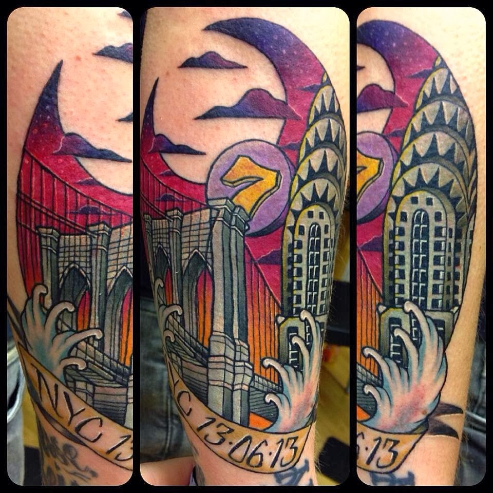 Tattoo, ink, new york, nyc, ny, Chrysler building, brooklyn bridge, 7, train, subway, mets, sunset, gotham, usa, inked, arm, old school, traditional.