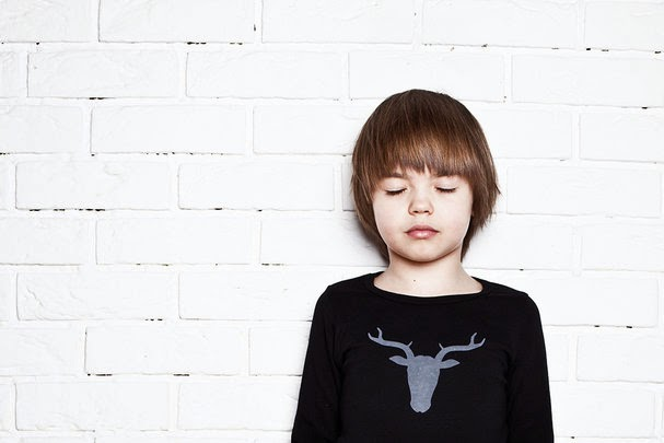 Black tee with deer print by Nosweet for spring 2014 kidswear collection