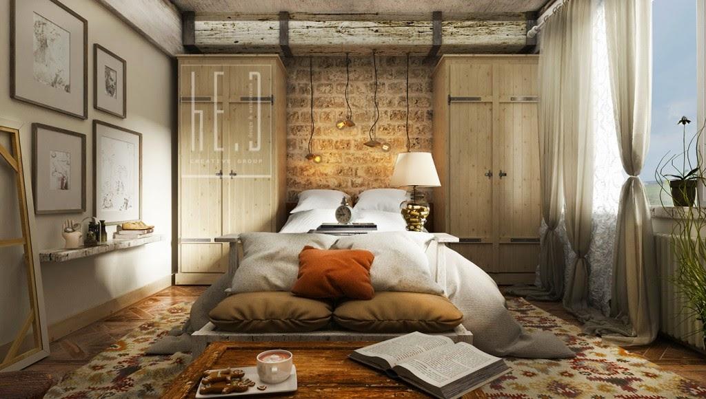 Dormitorio rustico con ladrillos y madera dormitorios - Cuartos de bano rusticos fotos ...