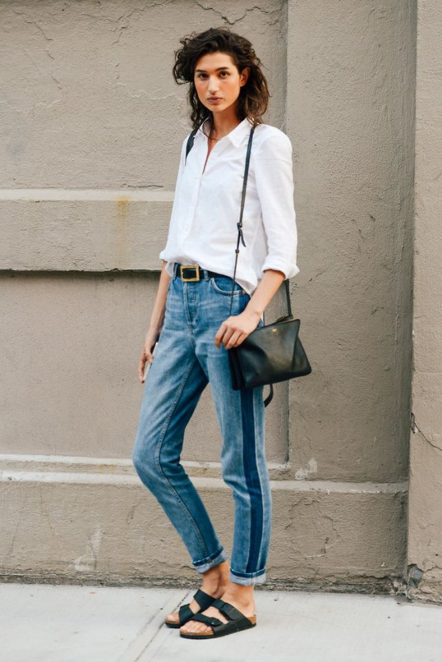 denim jeans and white shirt