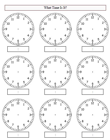 blank clocks worksheet new calendar template site. Black Bedroom Furniture Sets. Home Design Ideas