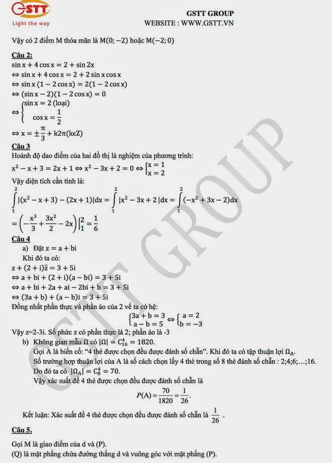 Đáp án đề thi đại học môn toán khối A,A1 các đề năm 2014