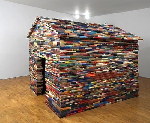 Fort a day a playhouse made from old books hundreds of 39 em for What you need to build a house